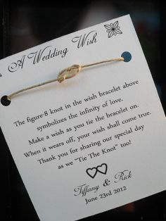 This Listing is for a set of 150 Wedding Wish Favors!    A wish bracelet is a simple but cute bracelet that is meant to encourage following your dreams. Our Bracelets are earth friendly made from hemp and can be worn by men, women, and children.    The idea of a wish bracelet is that when you get...