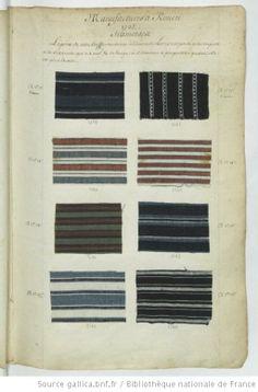 * Manufactures à Rouen // 1737 // Siamoises - Echantillons d'étoffes et de rubans recueillis par le Maréchal de Richelieu