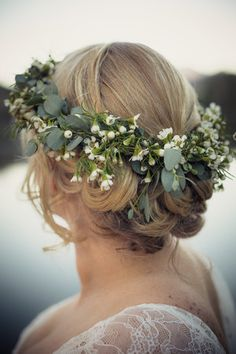 very sweet flower crown made of wax flower and baby eucalyptus
