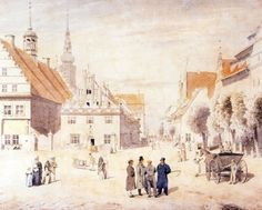 Caspar David Friedrich, The Marketplace in Greifswald (ca. 1818).