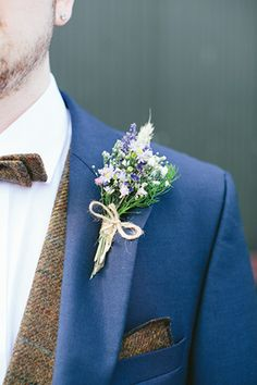 navy and tweed groom suit with bowtie |  Emma and Gary's Pretty and Rustic Brookhall Wedding by Fraser Stewart Photography | www.onefabday.com