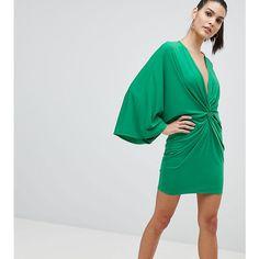 Flounce London Wrap Front Kimono Mini Dress ($44) ❤ liked on Polyvore featuring dresses, green, green mini dress, cocktail party dress, party dresses, green cocktail dress and green dress