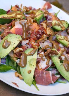 Spinach, avocado, walnut, cantelope salad