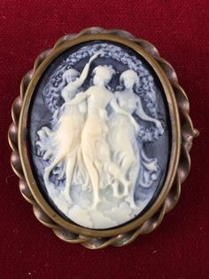 Vintage Bronze Tone Three Muses Dancing Cameo Brooch  MV558|We combine shipping|No Question Refunds|Bid over $60 for free shipping. Starting at $1