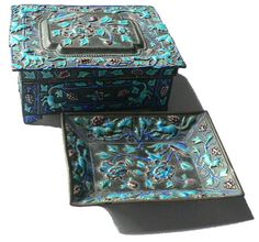 Chinese Enamel Smoking Set Cigarette Box and door Kitschtopia