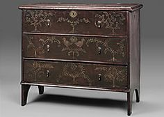 Fig. 3: Attributed to Robert Crosman (1707-1799), chest with drawer, Taunton, Massachusetts, about 1727. Painted pine, brass. H. 32-1/2, W. 37-1/2, D. 17-3/4 in. Museum of Fine Arts, Boston; bequest of Charles Hitchcock Tyler (32.215).
