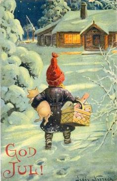 Another vintage Swedish Christmas card with a gnome and a pig, by Jenny Nystrom.