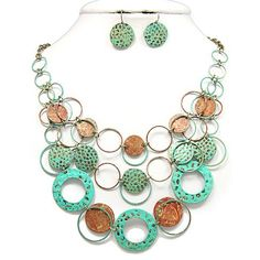 Patina Multi Layer Necklace with Earring Set