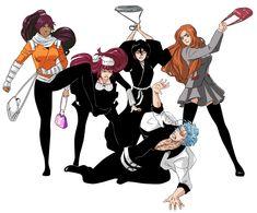 Bleach// Yoruichi, Orihime, Riruka,Rukia and Bleach Fanart, Bleach Manga, Aizen Sosuke, Bleach Funny, Susanoo Naruto, Inoue Orihime, Bleach Characters, Black Panther Marvel, Levi X Eren