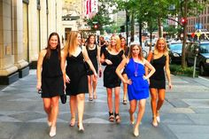 Bachelorette Party: A Little Black Dress brigade, where the bridesmaids wear their fav LBD and the bride stands out in a color of her choice