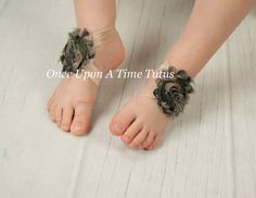 Camouflage Shabby Flower Barefoot Sandals  by OnceUponATimeTuTus