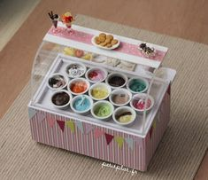 Miniature Ice Cream Display by Stephanie Kigast of PetitPlat Handmade Miniature Food