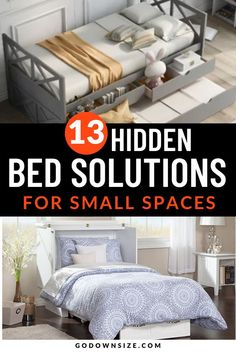 If you live in an apartment, condo, or small living space these 13 awesome hidden beds are perfect for you! Find easy bed solutions that can be tucked away during the day so you have more living space! Great for shared kids rooms and safer than a bunk bed. These 13 small bedroom ideas are classic and modern. Learn how to build a DIY platform floor with a pull-out bed completely on your own! Great for a studio apartment or for an extra bed for a guest. Small Space Living, Small Spaces, Living Spaces, Trundle Bed With Storage, Bed Storage, Simple Bed, Easy Bed, Space Saving Beds, Declutter Home