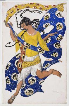 Leon Bakst, Costume design for Le Papillon, 1913