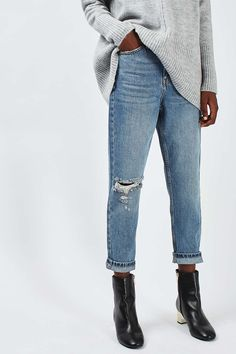 Topshop Ripped Mom Jeans (Petite) available at Ripped Mom Jeans, Denim Jeans, Skinny Jeans, Petite Jeans, Topshop Jeans, High Rise Jeans, Preppy, Nordstrom, Preppy Style