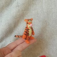 Needle felt tigger winnie the pooh miniature plush plushie bear disney handmade felted by The wishing shed. Diy toy figure from book character teddy craft gift