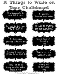 10 Things to Write on Your Chalkboard - House by Hoff