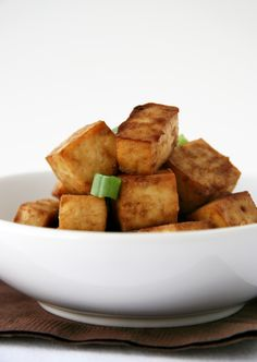 Easiest Tofu recipe. I like nutritional yeast and salt and pepper.