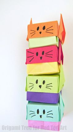 Origami Stacking Boxes - make these cute little cat origami boxes - great for trinkets or small gifts