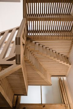 Tsurata Architects designs staircase in London house Nearly pieces of plywood slot together like a puzzle in this staircase, which features in a London home that has been overhauled by local studio Tsuruta Architects. New Staircase, Modern Staircase, Staircase Design, Stairs Stringer, Treads And Risers, Balustrades, Brick Facade, London House, Stairway To Heaven