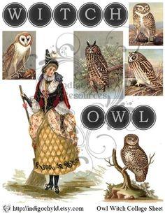 Owl Witch Digital Collage Sheet JPG by indigochyld on Etsy, $2.75