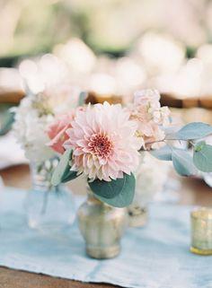 dahlia bud vase centerpieces - photo by Caroline Tran http://ruffledblog.com/a-sophisticated-wedding-at-maravilla-gardens