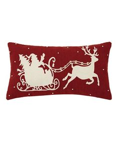 Loving this Red & White Santa in Sleigh Bell-Accent Throw Pillows on #zulily! #zulilyfinds