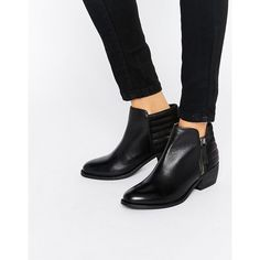 Dune Petrie Black Leather Ankle Boot ($115) ❤ liked on Polyvore featuring shoes, boots, ankle booties, black, block heel booties, black leather booties, leather boots, bootie boots and short boots
