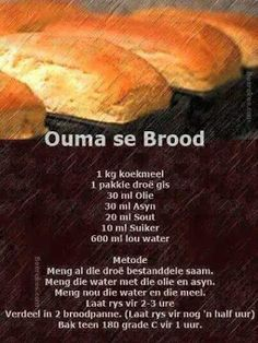 Food recipes from all over the world. South African Dishes, South African Recipes, Kos, Ma Baker, African Dessert, Braai Recipes, Our Daily Bread, Bread And Pastries, Artisan Bread