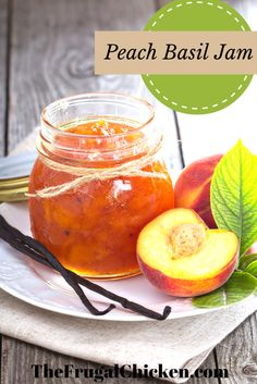 Peach Basil Jam Celebrate summer's unique flavors with this peaches and basil jam. With just 3 ingredients, it will take you an hour to create fresh jam! Great for summer recipes! Chutneys, Peach Jam, Canning Recipes, Dishes Recipes, Recipes Dinner, Vegaterian Recipes, Canning Tips, Whole30 Recipes, Dinner Dishes