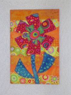 Flower Whimsical Art Quilt Postcard 4 x 6 Bright Colors. $6.00, via Etsy.