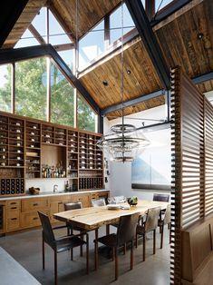 Mary Decoration Design, Deco Design, Elle Decor, Portola Valley, Clerestory Windows, The White Company, Concrete Floors, Steel Frame, Dining Area