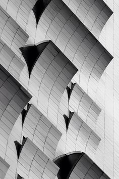 Textural wave patterns in architecture with graphic lines, curves & repetition