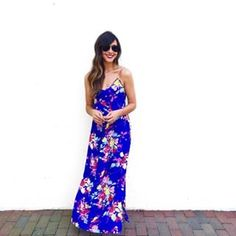 Lauren of #SunshadesandSnowflakes KILLS it in our Alyssa Maxi-Dodger Blue Blossom!   #yumikim #ykmyway #ootd #maci