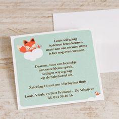 Blijf helemaal in stijl met het borrelkaartje dat perfect past bij jouw geboortekaartje met het schattige vosje. Wat een leuke uitnodiging voor het eerste feestje van jullie kindje! Baby Shower Fun, Baby Time, Babyshower, Baby Room, Announcement, Cute Babies, Place Card Holders, Children, Names
