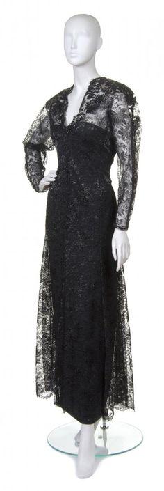 Jean-Louis Scherrer(French, b. Gownblack lace, Lurex, and beadingsize on Mar 2013 Old Dresses, Vintage Dresses, Formal Dresses, Jeans, 1930s, Evening Gowns, Designers, Vintage Fashion, French