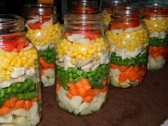 Layered Chicken Soup - Ingrid, when you get home we need to do this!! Even if it's not still canning season!