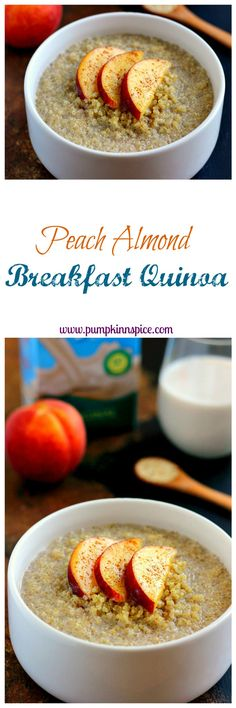 This protein-packed Peach Almond Breakfast Quinoa is filled with hearty quinoa, fresh peaches, creamy almond milk, and just the right amount of spices! Use 1 cup cooked quinoa and 2 peaches to serve 2.