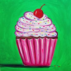 Bright Cupcake by Tracey Bautista - Bright Cupcake Painting ...