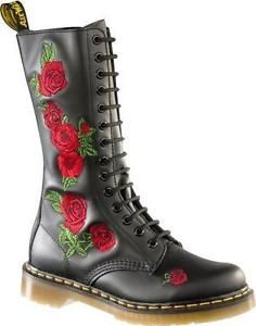 DR MARTENS VONDA P12761001 - 14 EYELETS BLACK WITH RED ROSES LADIES BOOT UK 3-9 in Clothes, Shoes & Accessories, Women's Shoes, Boots   eBay