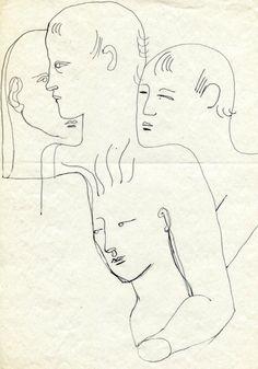 """COCTEAU (JEAN)  Composition aux quatre visages, étude pour """"le livre blanc"""". Dessin original à l'encre, exécuté vers 1929-1930; 21 x 27 cm. Drouot Estimation - 17/04/2015"""