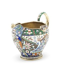 An early 20th century Russian silver-gilt and cloisonné enamelled cream jug…