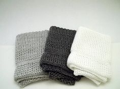 Dishcloths Knit in Cotton in White Charcoal/Grey/Angel and