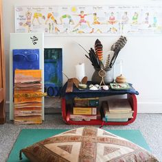 """""""This is where I am building my meditation practice,"""" says LaToya. """"I have created an altar with reminders of nature and special books and oracle cards. I do journaling here as well. I also have some artwork in progress here."""""""