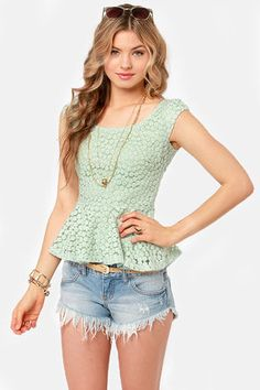 Lace Makes Waist Sage Green Top from lulus.com