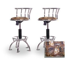 "2 24""-29"" Tiger Face Animal Print Seat Chrome Adjustable Specialty / Custom Barstools Set by The Furniture Cove. $198.88. 24"" to 29"" Adjustable Seat Height. Chrome Metal Finish. Tiger Face Fabric Print Seat. Swivel Seat. Back Rest and Foot Rest. These have a fitting appearance for a wide variety of places. They look and feel great, feature a tiger face animal print seat , and are impressively versatile. The frame is made of metal making it a strong, heavy duty s..."