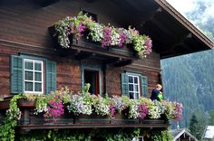 Cozy cottage in Germany adorned with plush flower boxes. Quaint.