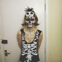 Me as a Skelington  #Halloween #skeletoncostume #facepaint