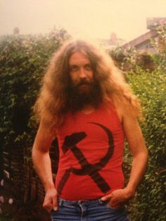 Alan Moore the creator of Watchmen and V For Vendetta outside his house 1987