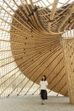 Swirling Cloud: Bulletin Pavilion for BJFU Garden Festival | SUP Atelier   #Bamboo #Beijing #Bulletin #China #ChunFang #construction #Steel #Structure #SuChen #SUPAtelier #Wood